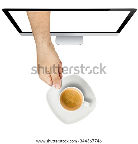 Topview of male hand serving cup of coffee hand coming out from computer screen isolated - stock photo