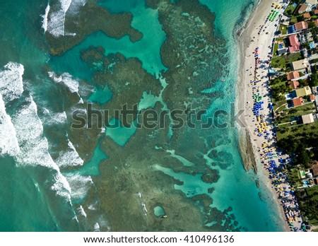 TopView of Porto de Galinhas, Pernambuco, Brazil - stock photo