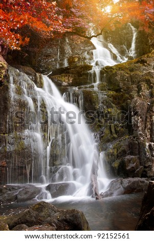 Torc waterfall at autumn in Killarney National Park, Ireland - stock photo