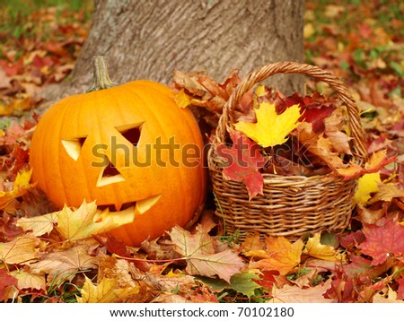 torchbearer and leaves - stock photo