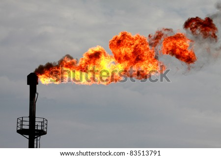 Torches for casing-head  gas flaring during oil - stock photo