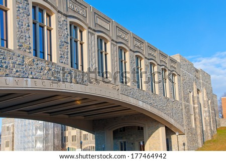 Torgersen Hall and bridge to Newman Library at Virginia Tech - stock photo