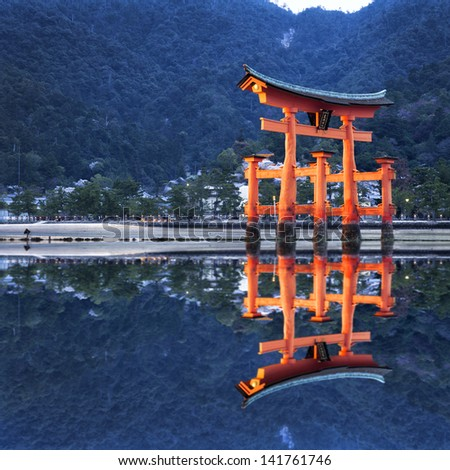 Tori reflection in japan - stock photo
