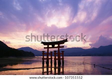 Torii gate, Miyajima, Japan - stock photo