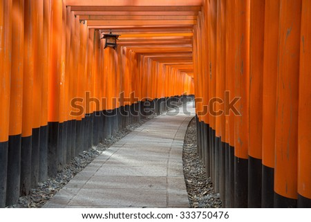 Torii Gates of Fushimi Inari Shrine in Kyoto, Japan - stock photo