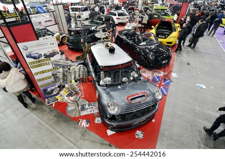 TORINO, ITALY - FEBRUARY 15, 2015: New generation of different Mini Cooper tuning cars edition exposed at Expo Tuning Torino motor show on February 15, 2015 - stock photo