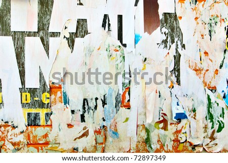 Torn advertisement posters - stock photo