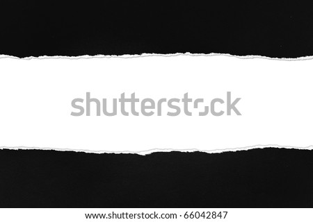 Torn black Paper with space for text on white background - stock photo