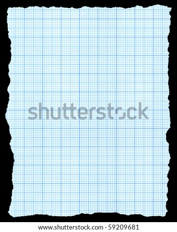 Torn blue graph paper isolated on a black background. - stock photo