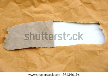 Torn brown paper - stock photo