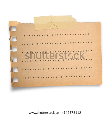 Torn brown paper note and line, with scoth tape in vintage style, isolated on white - stock photo