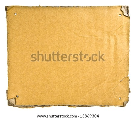 Torn Cardboard Isolated on White. Ready for your message. - stock photo