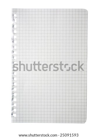 Torn checked notepad page isolated white background paper graph check square sheet notebook pad note spiral workbook diary tear mathematic math texture textbook copybook text book work do list copy - stock photo