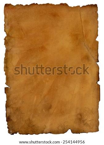 Torn edges parchment paper vertical background - stock photo