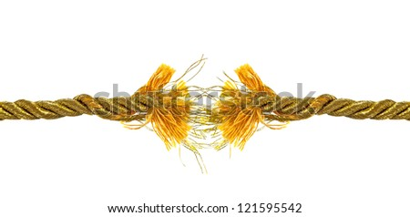 Torn golden rope isolated on white - stock photo