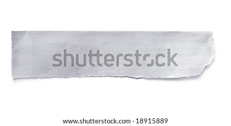 Torn newspaper banner, ready for your message.  Isolated on white with natural shadow. - stock photo