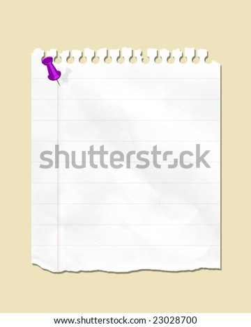 torn notepaper with thumbtack - stock photo