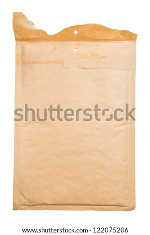 Torn open cushioned envelope