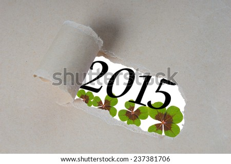 torn open piece of paper with the year 2015 / New years eve 2015 - stock photo