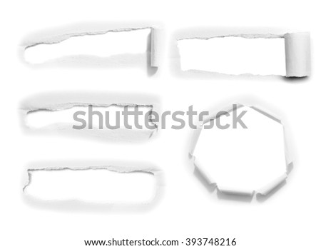 Torn paper, isolated on white background - stock photo
