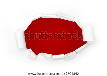 Torn paper over a blank red background for message - stock photo