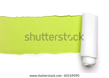 Torn Paper showing green background isolated on a white background - stock photo