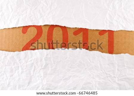Torn paper-strip series - new year concept with copy space - stock photo