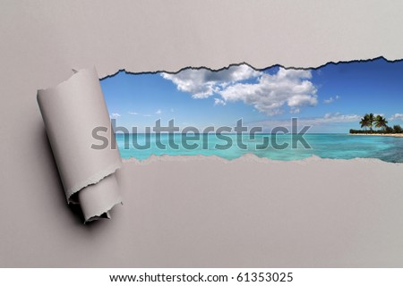 Torn paper with Caribbean island in opening background - stock photo