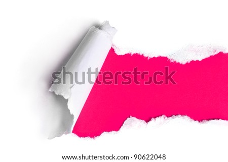 Torn paper with pink background - stock photo