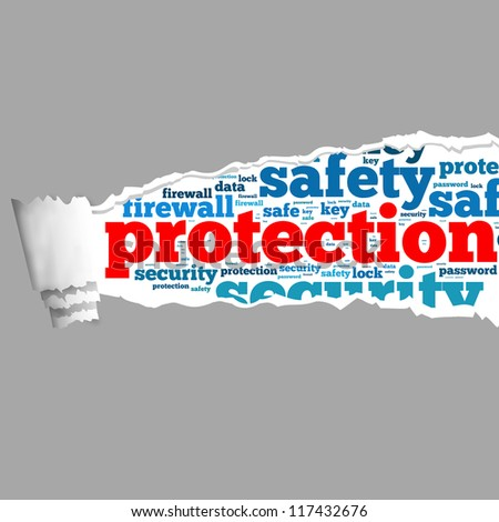Torn Paper with protection info-text graphics and arrangement concept on white background (word cloud) - stock photo