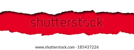 Torn paper with red space for text isolated on a white background   - stock photo
