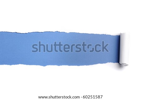 Torn Paper with space for text against a blue background - stock photo