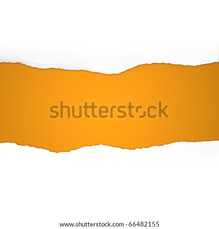 Torn Paper with space for text on orange background - stock photo