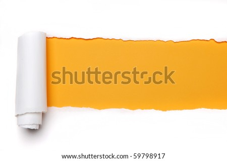 Torn Paper with space for text with yellow background - stock photo