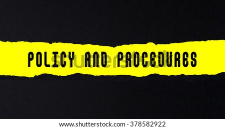 Torn paper with text policy and procedures - stock photo