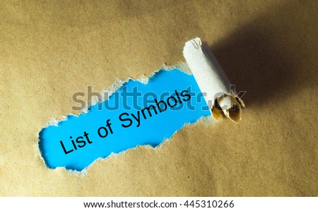 Torn paper with word list of symbols - stock photo