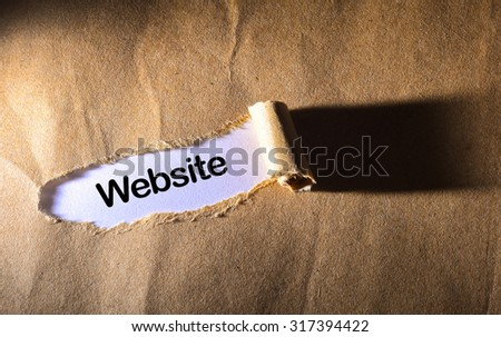 torn paper with word website - stock photo