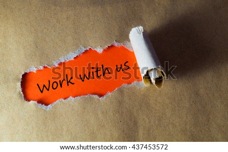 Torn paper with word work with us - stock photo