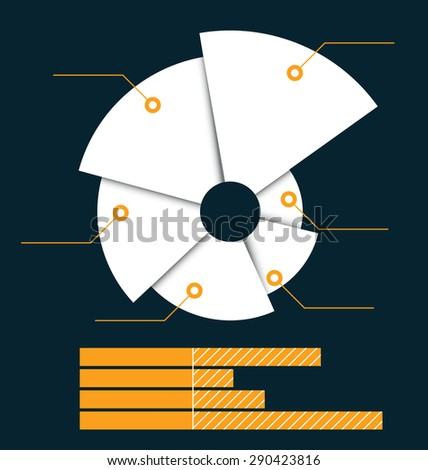 Torn pie chart with a linear diagram below. Clean and simple design. - stock photo