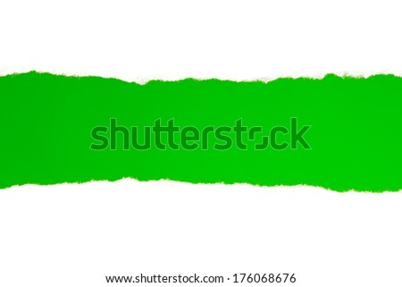 Torn white paper with a green background for your text	 - stock photo