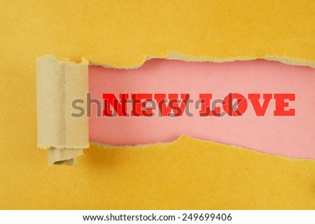 Torn yellow paper with pink background and words new love - stock photo