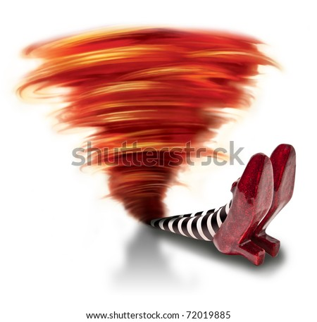 Tornado fallen on wicket witch - stock photo