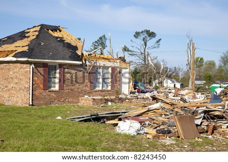 Tornado leaves trail of death, destruction ,fast moving storms hit almost without warning - stock photo