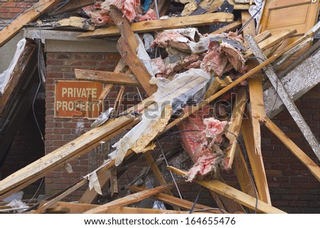 Tornado Storm Damage III - Catastrophic Wind Damage from a Midwest Tornado - stock photo