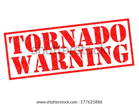TORNADO WARNING red Rubber Stamp over a white background. - stock photo
