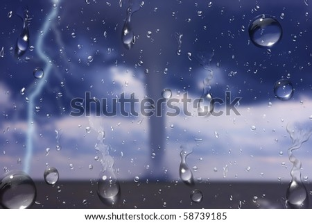 tornadoes form from the car - stock photo