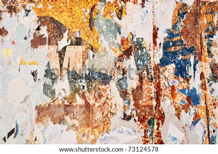 Torned poster texture,  torn wall street background - stock photo