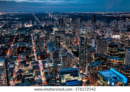Toronto by night from above - stock photo
