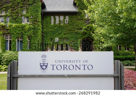 TORONTO, CA -10 JUNE 2014- Editorial: Founded in 1827 as King's College, the University of Toronto, located around Queen's Park, is ranked first academically among Canadian research universities. - stock photo