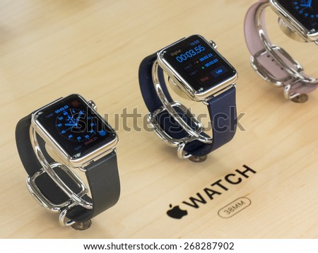 TORONTO, CANADA - APRIL 10, 2015: A couple of new Apple Watch sit at the retail store in Toronto. Apple begins the Apple Watch pre-order at the Canadian retail stores this day. - stock photo